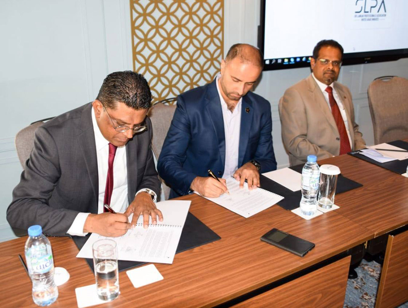Signing the association management services agreement between SLPA-UAE and MCI Middle East LLC on 18 June 2019 at Radisson Blu Hotel,Dubai,UAE