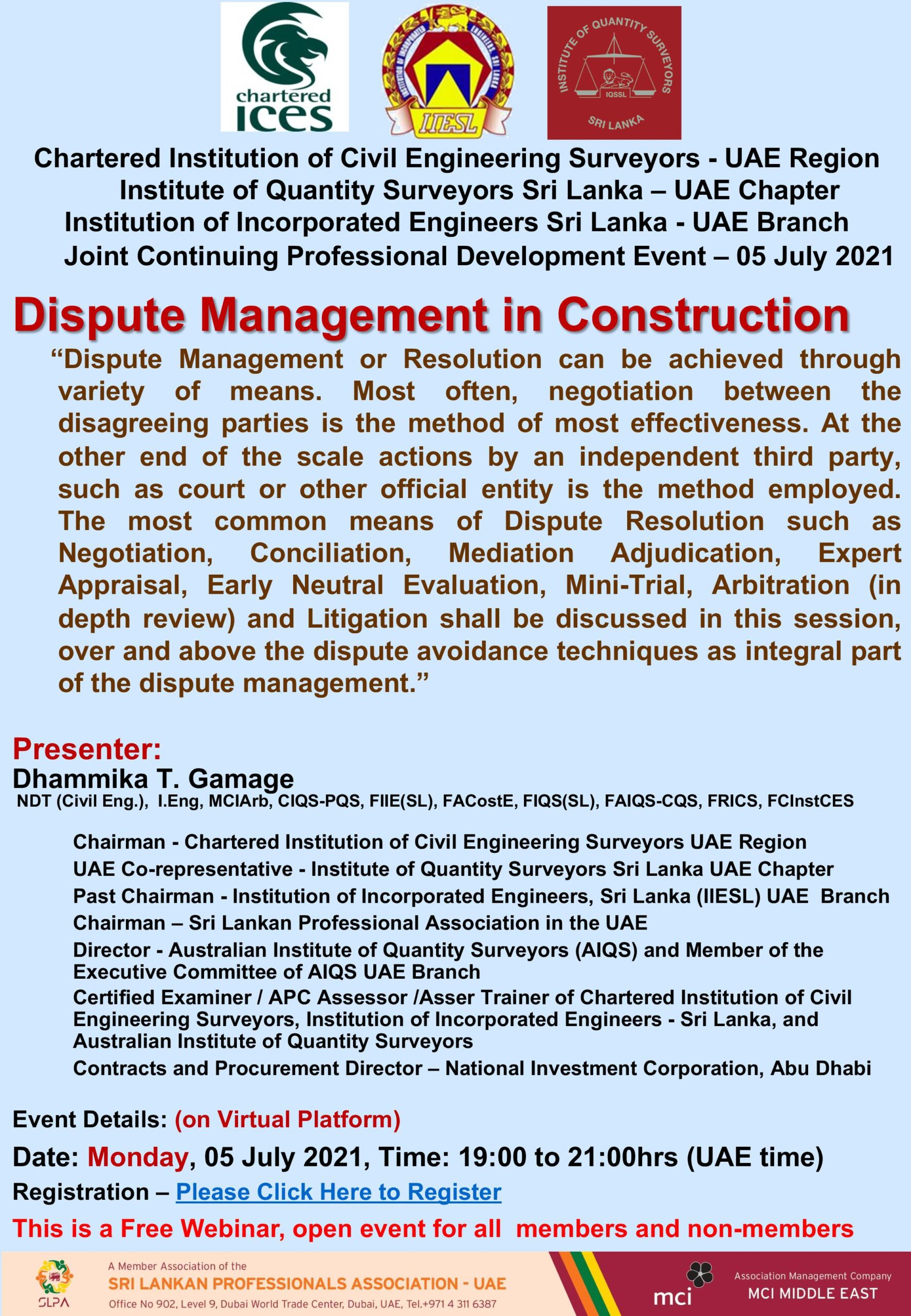 Dispute Management in Construction